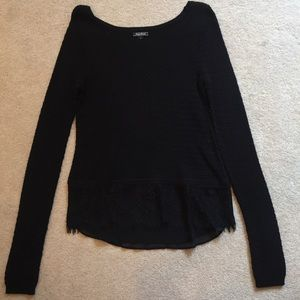 LUCKY BRAND Black Sweater with Lace